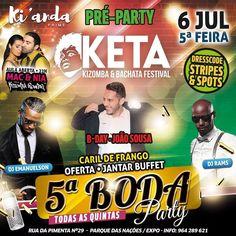 """PRÉ-PARTY KETA FESTIVAL - 5ª BODA!!!!   Aniversário do nosso querido JOÃO SOUSA!!  QUINTA-FEIRA - 6 de JULHO  21H  Abertura das portas c/ direito a um delicioso BUFFET com """"CARIL DE FRANGO!"""" de OFERTA!  22H - Aula com MAC & NIA by KIZOMBA POWER!!  DJ's RAMS & EMANUELSON toda la noche :) ADERE JÁ: http://ift.tt/2tM1qVL  #quintadaboda #kianda #kizombapower #kzbpwr #kizomba #semba #tarraxinha #kizomba #kizombapower @nia_kizombapower @manuaurindo #kianda @deejay_emanuelson @kiandaprime…"""
