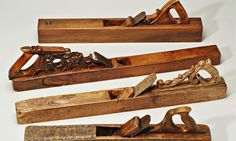 A selection of old wooden planes featured in the new book Antique Woodworking Tools: their Craftsmanship from the Earliest Times to the 20th Century by David Russell