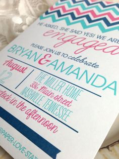Chevron Engagement / Wedding / Birthday / Party Invitations on Etsy, $72.88 AUD purple aqua and yellow