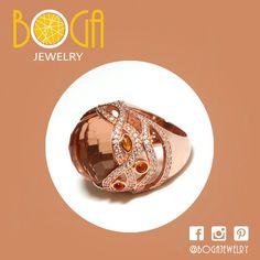 Anillo de plata con baño rosado de circones en tono ambar. Encuéntralo  en nuestra isla en C.C San Marino  #bogalovers #bogajewelry #sanmarino