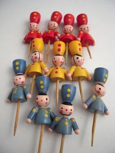 Vintage Wood Soldiers Cake Candle Holders ...Mom always used these in our birthday cakes!