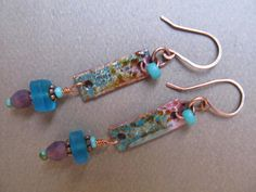 Lavender and Turqoise Enamel Dangle Earrings by LindaNiemanJewelry