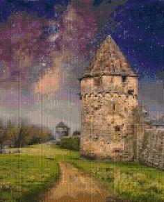 Castle Path in Sunset Cross Stitch pattern PDF  Instant