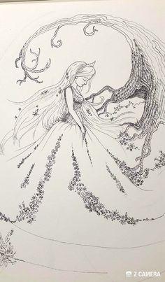 Pentekening sprookje meisje met bloemen