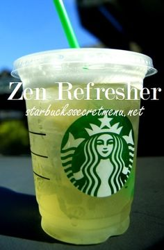Zen Refresher: Half Cool Lime Half Green Tea concentrate (No Water) Add 2 pumps of Peach Syrup (Optional, to add extra sweetness and flavor) Ice it and sha. Starbucks Secret Menu Drinks, Starbucks Recipes, Starbucks Coffee, Starbucks Green Tea Recipe, Healthy Starbucks, Matcha, Healthy Drinks, Detox Drinks, Chocolates