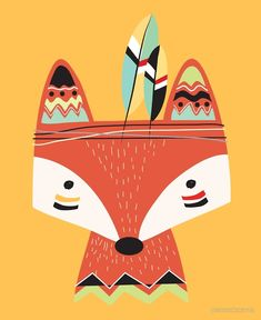 'Cartoon Tribal Red Fox' Poster by peacockcards Tribal Fox, Tribal Animals, Fox Party, Canvas Prints, Art Prints, Wild Ones, Red Fox, Woodland Animals, Fabric Painting