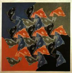Fish - Artist: M.C. Escher Completion Date: 1942 Style: Op Art Genre: tessellation
