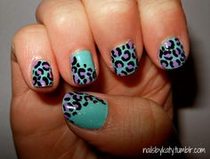 Colorful Leopard Nails by NailsByKaty on Etsy, $15.00