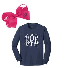 PERSONALIZED YOUTH LONG SLEEVE TEE & PERSONALIZED HOT PINK BOW SET