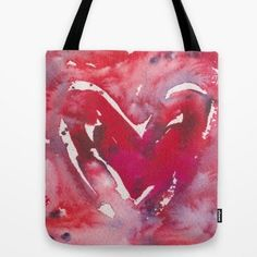 """Right in time for Valentine's Day... A new """"Red Heart Tote Bag... based on my original watercolor. A versatile and uniquely functional bag for school, shopping, library, beach or just to carry all your important stuff. Made of durable poly poplin fabric,"""