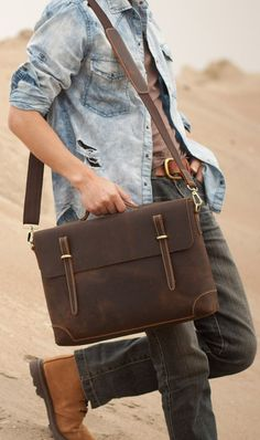 Classical Mens Bag Crazy Horse Leather Macbook Top Grade Handbag Large Tote in Dark Coffee
