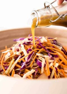 Fantastic Asian Sesame Dressing made with soy sauce, sesame oil, vinegar and sugar. Keeps for 3 weeks. Use for Asian Slaws, leafy greens and noodle salads! **Made with hot sesame oil, very good but quite spicy** Asian Sesame Dressing, Sesame Dressing Recipe, Salad Dressing Recipes, Salad Recipes, Sesame Salad Dressing, Asian Coleslaw Dressing, Chinese Chicken Salad Dressing, Asian Slaw Salad, Hummus