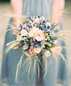 thistle wedding flowers, wedding flower inspiration, blue bridesmaids dress, rose wedding flowers, wheat wedding inspiration - something blue Bouquet Rustic Bridal Bouquets, Bridal Bouquet Fall, Wedding Bouquets, Rustic Bouquet, Bridesmaid Bouquets, Fall Bouquets, Bridesmaid Ideas, Wheat Wedding, Thistle Wedding