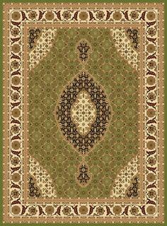 Design T02 Green 100% Polypropylene Durable Power Loomed Persian Rug