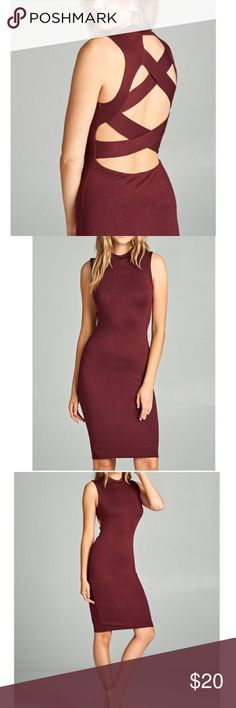 CUTOUT BACK MOCK NECK DRESS - BURGUNDY SLEEVELESS MOCK NECK WITH BACK CUTOUT DETAIL.  95% RAYON 5% SPANDEX. Dresses