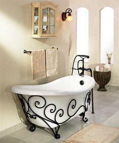Banheira com suporte de ferro. #bathtub #banheira #ferro