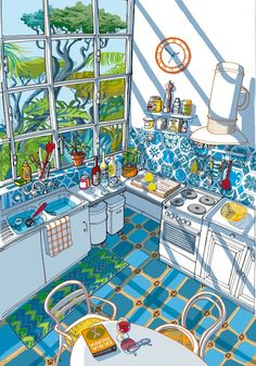 Mapei Interior Design Illustration Italian illustrator Carlo Stanga has created these beautiful illustrations of interiors for Mapei. The use of perspective and detail particularly make these illustrations worthwhile looking at for … Drawn Art, Interior Paint Colors, Interior Design, Interior Painting, Rustic Painting, Interior Sketch, Art Graphique, Create Image, Art Inspo