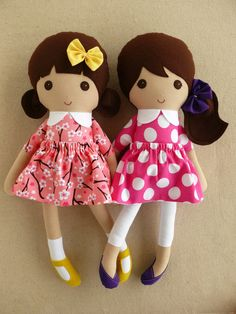 Reserved for Lauren - Fabric Dolls Rag Dolls Brown Haired Girl in Old Fashioned Dresses
