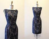 1950s Party Dress - Vintage 50s Dress - Black Nude Illusion Burnout Floral Cocktail Dress XS S - Audrina