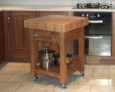 (Small kitchen table auxiliar) Movable butcher block kitchen island with drawer and shelf