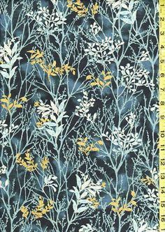 Floral Fabric - Juniper Leafy Branches - Navy, Light Blue & Gold - Last 2 1/3 yards