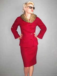 1960s jackie o suit / lipstick red / fur collar/ by DeathByVintage, $70.00