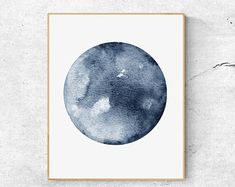50% OFFWatercolor Moon Print, Blue Moon Art, Full Moon Print, Moon Art Print, Watercolor Moon Poster, Celestial Print, Modern Wall Art