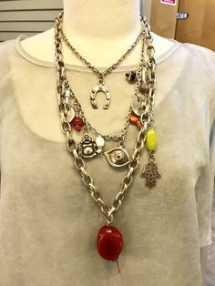 Uno de 50 Chunky Necklace with Many Lucky Charms (J) | eBay