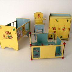 1950's Four Piece Vintage Tin Toy Furniture Set by J. Chein