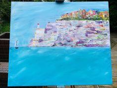 Bonifacio Corisca cliff scene - turquoise seas, Original oil painting - SOLD Mount Laurel, Watercolor Sunset, Frame Shop, Paintings For Sale, Oil Painting On Canvas, Beautiful Paintings, Cliff, Canvas Frame, Turquoise