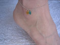 REAL BEACH SEAGLASS Ankle Bracelet Sterling Silver Yellow Aqua Genuine Surf Tumbled Sea GLass Jewelry A /51