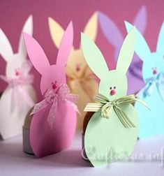 Adorable bunny easter egg holders (with template) // Húsvéti tojás tartó masnis nyuszik (sablonnal) // Mindy - craft tutorial collection // #crafts #DIY #craftTutorial #tutorial #easter #easterCrafts #DIYEaster