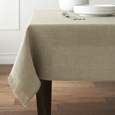 """Crate & Barrel Beckett 60""""x120"""" Natural Linen Tablecloth ($130) ❤ liked on Polyvore featuring home, kitchen & dining, table linens, crate and barrel, crate and barrel table linens, crate and barrel tablecloth, crate and barrel table cloth and linen tablecloth"""