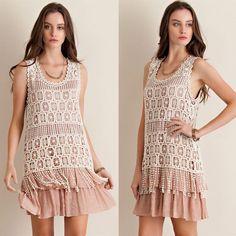 Crochet Overlay Ruffle Swing Dress