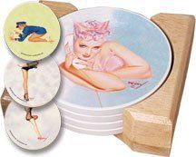 CounterArt WW II Pin-up Girls Design Round Absorbent Coasters in Wooden Holder, Set of 4 Assorted by CounterArt. $12.99. To remove coaster stains, soak coaster in 1 part household bleach and 3 parts water until stain lifts, then rinse and air dry. Coasters feature natural stoneware construction with decorative transfer print. Set of 4 absorbent natural stoneware coasters in wooden display holder. Holder is made of durable rubberwood with a clear varnish finish. Attractive, a...