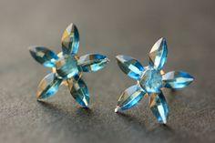 New to StumblingOnSainthood on Etsy: Blue Star Flower Earrings. Blue Earrings. Silver Stud Earrings. Blue Flower Earrings. Post Earrings. Handmade Earrings. Handmade Jewelry. (8.00 USD)