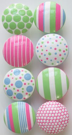 Hand Painted Dresser Drawer Knobs Cotton Candy Stripes and Polka Dots
