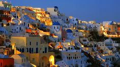 Santorini, Greece  At night  This is one of my favourite places in the world. Check out Akrotiri while you are there, but not the volcano. Also, the sulphur springs ruin your bathing suit, be warned!  Beaches = 8.7/10