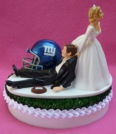 Where was this when we go married.  Would have been perfect!!!! Wedding Cake Topper New York Giants NY Football Themed by WedSet, $59.99