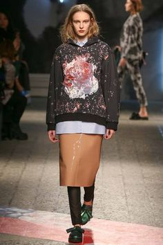 MSGM F/W 2014, graphic hoodie, button down, patent skirt, leggings