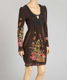 Love this Brown & Pink Floral Lace Yoke Dress on #zulily! #zulilyfinds