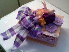 Peach And PURPLE BIRD Bow JEWELRY Box Pretty by CathysCraftWorld, $26.00
