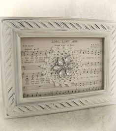 Shabby White Decor Altered Lace Art Vintage Rhinestone Collage Wall Art Cottage Chic Style Vintage Style Vintage Lace Framed Rhinestone - Diy Crafts for The Home Shabby Chic Crafts, Vintage Crafts, Shabby Chic Decor, Vintage Decor, Doily Art, Lace Art, Doily Bunting, Wedding Picture Walls, Sheet Music Crafts