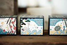 ハーブティー パッケージ - KIGIPRESS Typography Design, Pattern Design, Indigo, Packaging, Japan, Patterns, Block Prints, Type Design, Indigo Dye