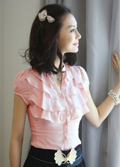 Wholesale Pretty & Simple Stand Collar Short Sleeve Pure Color Blouse----Pink top dresses