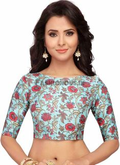 SkyBlue Floral Printed Readymade Blouse Indian Wedding Wear, Indian Wear, Floral Blouse, Printed Blouse, Boat Neck Saree Blouse, Plain Saree, Cool Fabric, Saree Blouse Designs, Festival Wear