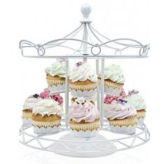 """""""For-Hire"""" Charming White Carousel Cupcake Holder Stand"""