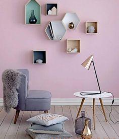 Lovely box shelves as eye catchers in the room.