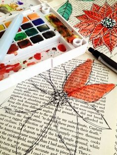 paint over old book pages with water color - frame it (NTS: could do some awesome antique stuff... typewriter, old phone, etc.)