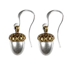"""From little acorns mighty oaks do grow"" Hultquist Jewellery Acorn Silver Gold Hook Earring http://www.lizzielane.com/product/hultquist-jewellery-acorn-silver-gold-hook-earring/"